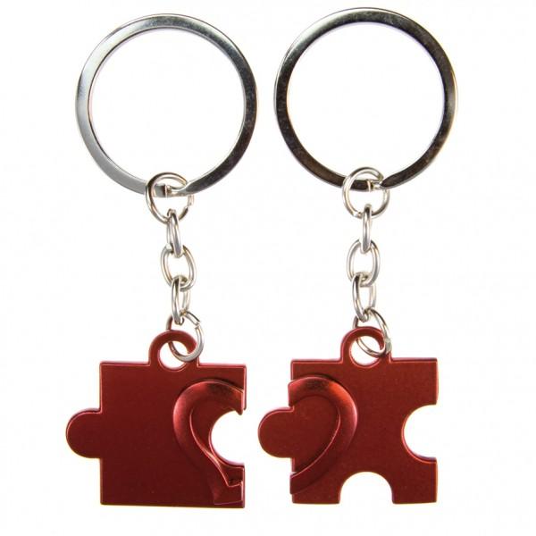 Schlüsselanhänger Puzzle rot