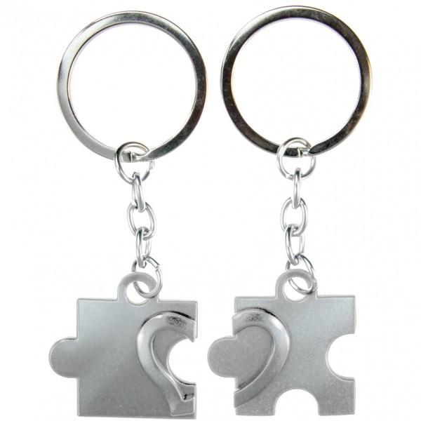 Schlüsselanhänger Puzzle silberfarben