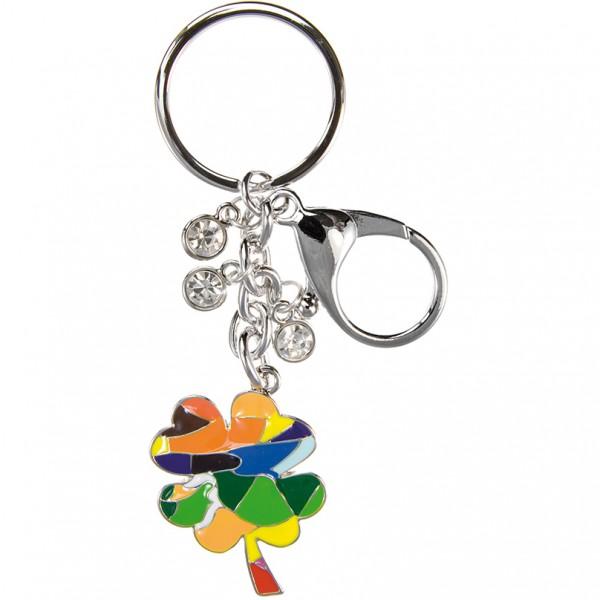 Schlüsselanhänger Mosaik Kleeblatt